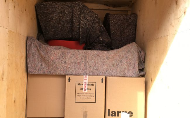 Inside bournville removals firm packed lorry